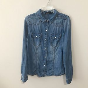 Trouve Chambray Snap Front …